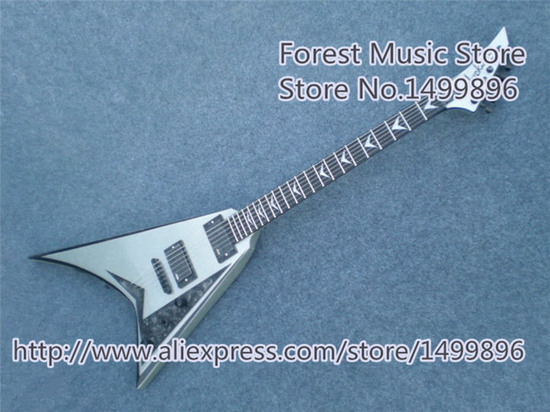 New Arrival Silver Finish Chinese Jackson Flying V Guitars Electric Rosewood Fretboard Guitar Neck In Stock top selling chinese sg 400 electric guitar zebra stripe finish guitars body