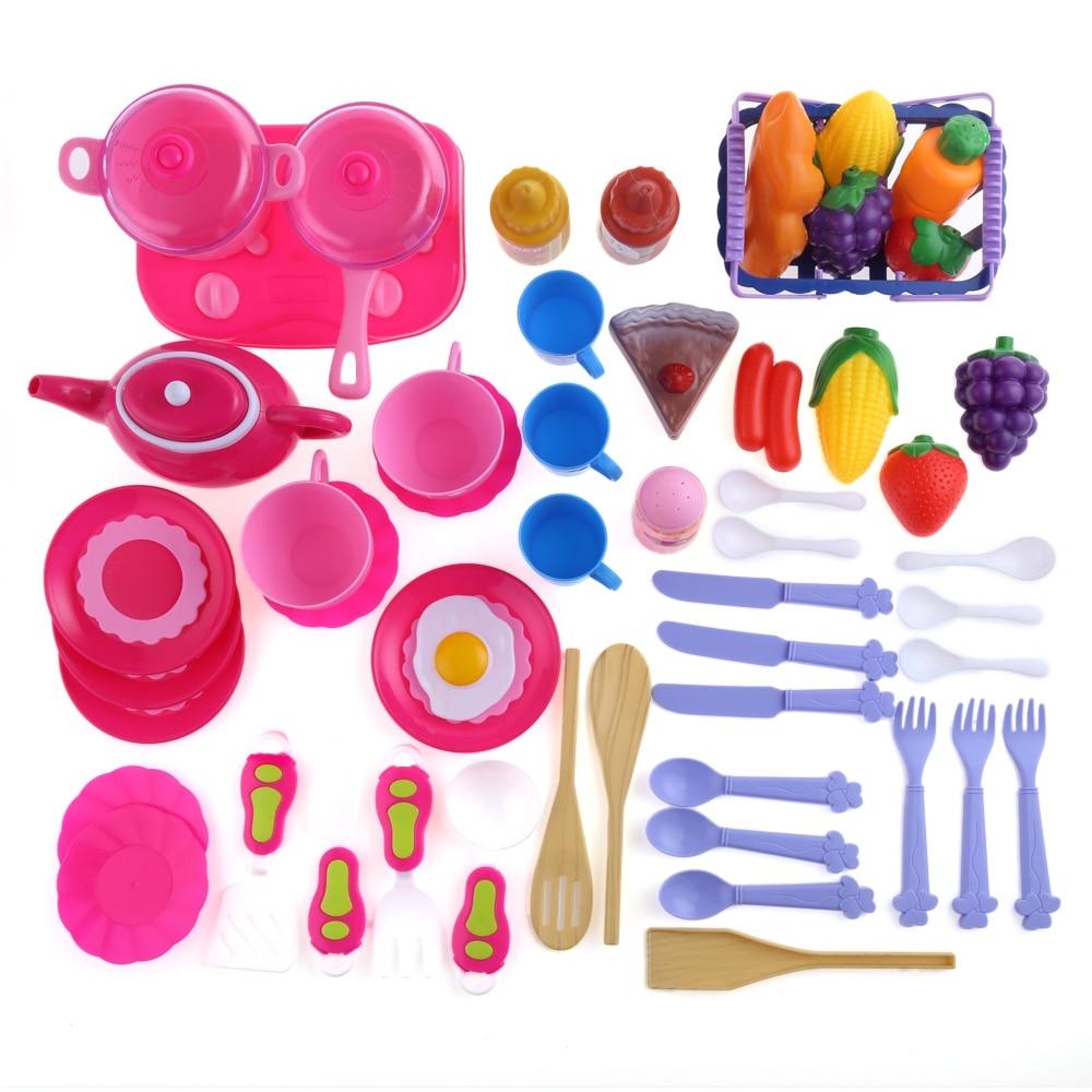 54pcs Kitchen Toys Pretend Play Classic Cut Food
