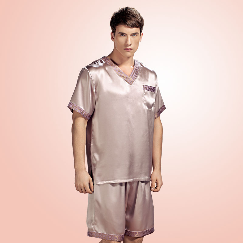 Brand Silk Pyjamas Set Summer Men's Sexy Pajamas 100% Silk Sleepwear Male Short-Sleeve Shorts Set Men Homewear Fashion Sets