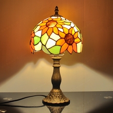 Nordic sunflowers pastoral retro table lamp Tiffany glass wedding gifts lighting bedroom bedside reading lamps