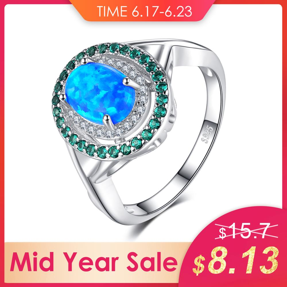 JewelryPalace Fashion 1.2ct Oval Created Opal Inlay Emerald Cocktail Ring Genuine 925 Sterling Silver Vintage Jewelry For WomenJewelryPalace Fashion 1.2ct Oval Created Opal Inlay Emerald Cocktail Ring Genuine 925 Sterling Silver Vintage Jewelry For Women