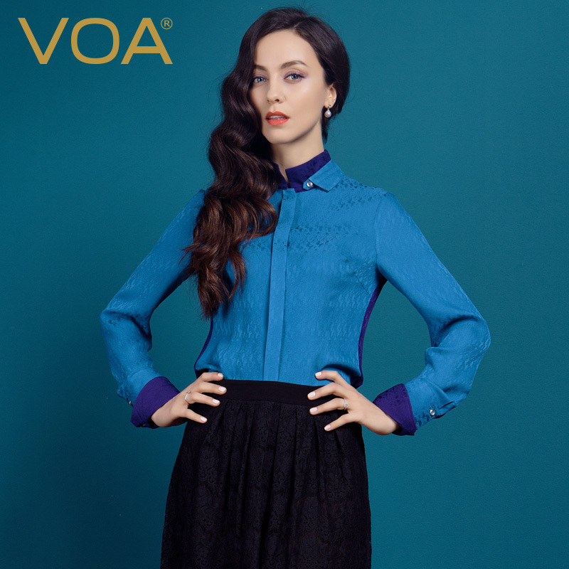 VOA Purple And Blue Joining Together Silk Jacquard font b Shirt b font Female Double Collar