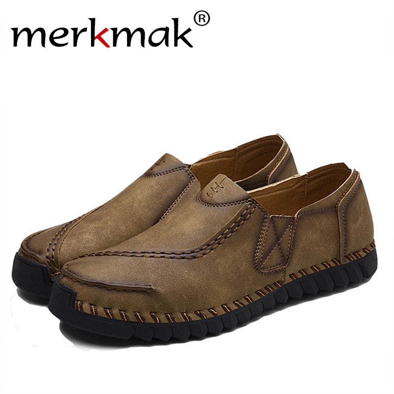 Merkmak Casual Shoes Men Fashion Oxford Loafer Sewing Slip on Man Flats Breathable Vintage Soft Sneaker Driving Shoes Size 38-44 bimuduiyu new england style men s carrefour flat casual shoes minimalist breathable soft leisure men lazy drivng walking loafer