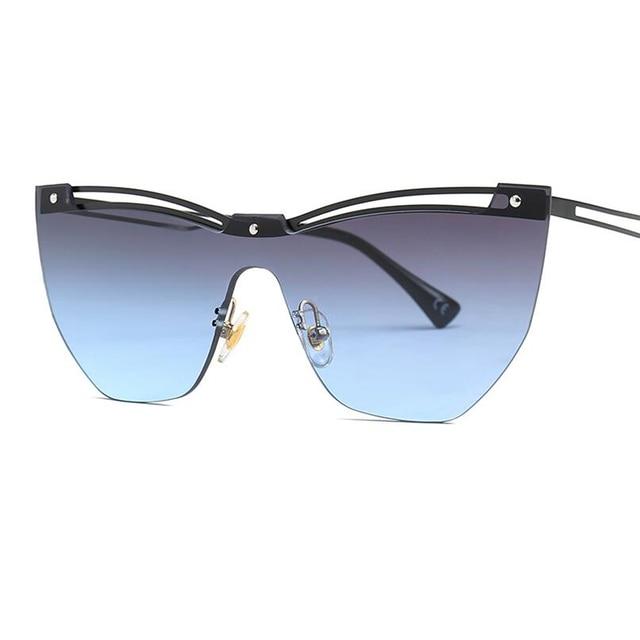 86c8114ed4 Famous Brand Designer Fashion Sun Glasses Female 2019 Rimless Cat Eye  Sunglasses Women Hollow Double Bridge Pink Blue Glasses