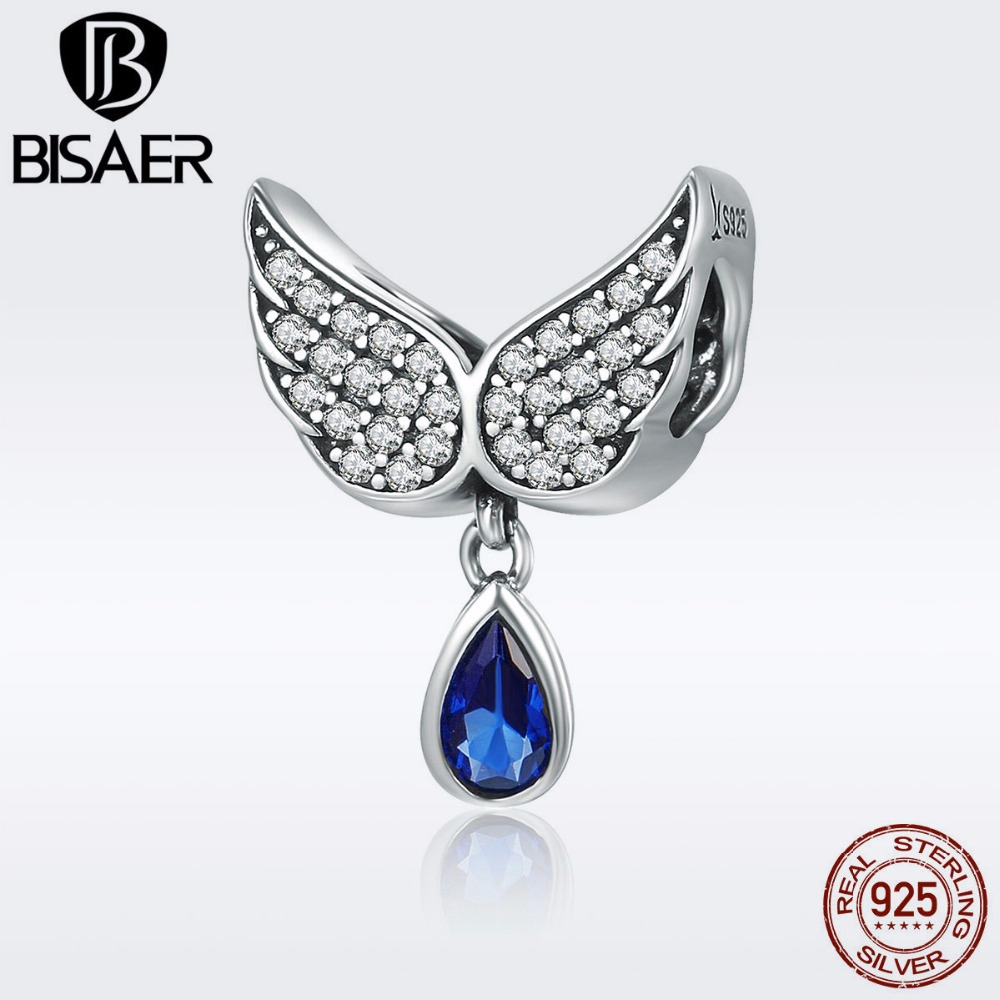 BISAER 925 Sterling Silver Guardian Angel Wings Feather Water Drop Charm Beads fit Charm Bracelet 925 Silver Jewelry GXC481