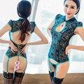 O envio gratuito de nova chegada pavão azul sexy lace pajama set 3 peça das mulheres conjunto sono sexy lingerie LH008