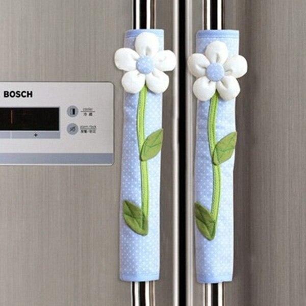2PCS Pastoral Flower Polka Dot Door/Refrigerator Handle Cover Fridge Door Handle Gloves Home Decor Kitchen Accessories
