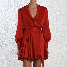 Elegante Silk Satin Kleid Frauen Sexy V ausschnitt Laterne Langarm Rüschen Schärpe Mini Wrap Damen Hohe Qualität EINE Linie kleid Vestido
