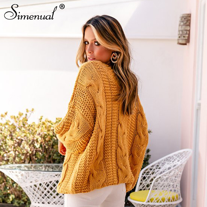 Simenual Twist Knitted Solid Women Sweaters Long Sleeve Autumn Winter 2019 Jumpers V Neck Pullovers Fashion Casual Basic Sweater
