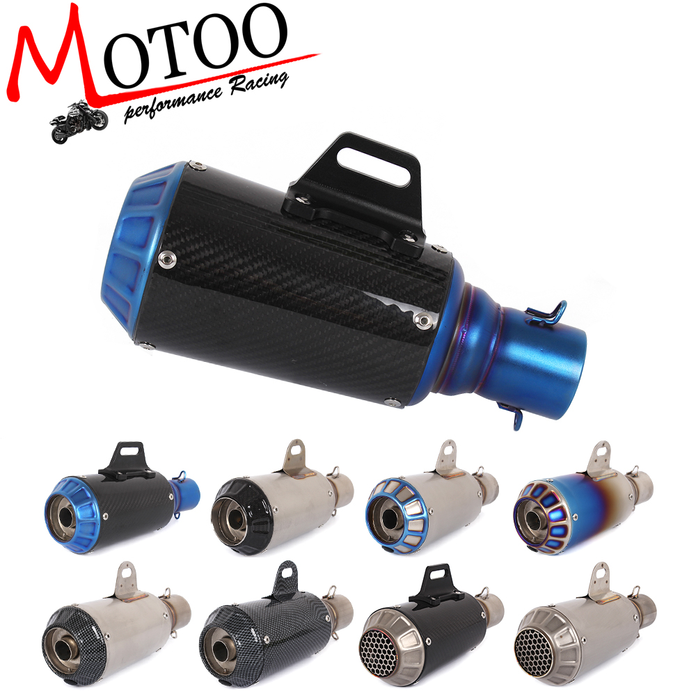 Motoo - Universal Motorcycle Exhaust Pipe stainless steel Muffler Inlet 51mm Escape Exhaust Mufflers Carbon Fiber Exhaust Pipe