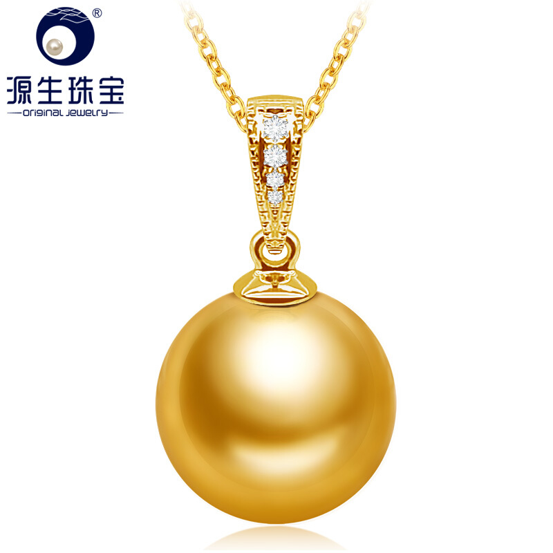 [YS] 9-10 мм Золотой южного моря Жемчужное подвеска с бриллиантами 18 К желтое золото кулон Цепочки и ожерелья украшения
