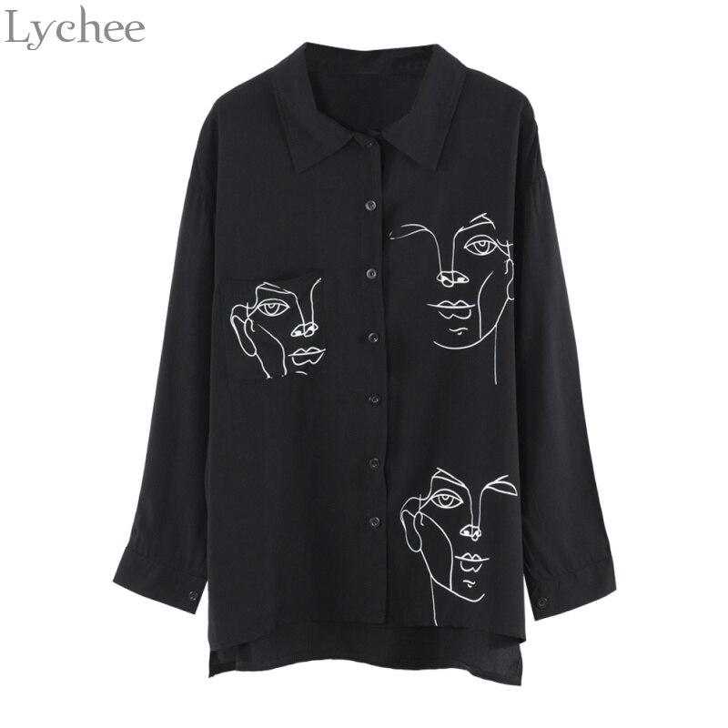 Lychee Frühling Herbst Frauen Bluse Face Print Beiläufige Lose Langarm-shirt Vintage Brlusa Tops