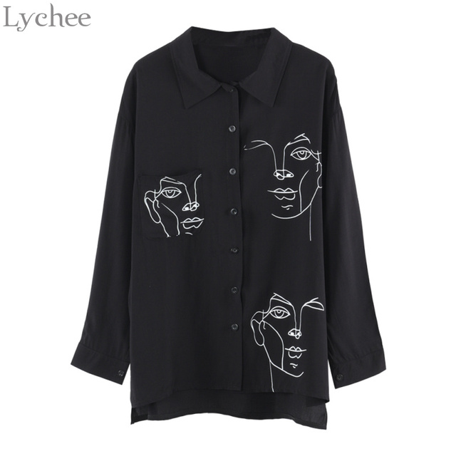 443661ef2915 Lychee Spring Autumn Women Blouse Face Print Casual Loose Long Sleeve Shirt  Vintage Brlusa Tops