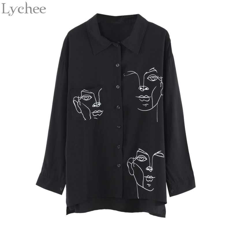 Lychee primavera otoño mujer blusa cara impresión Casual suelta manga larga camisa Vintage Brlusa Tops