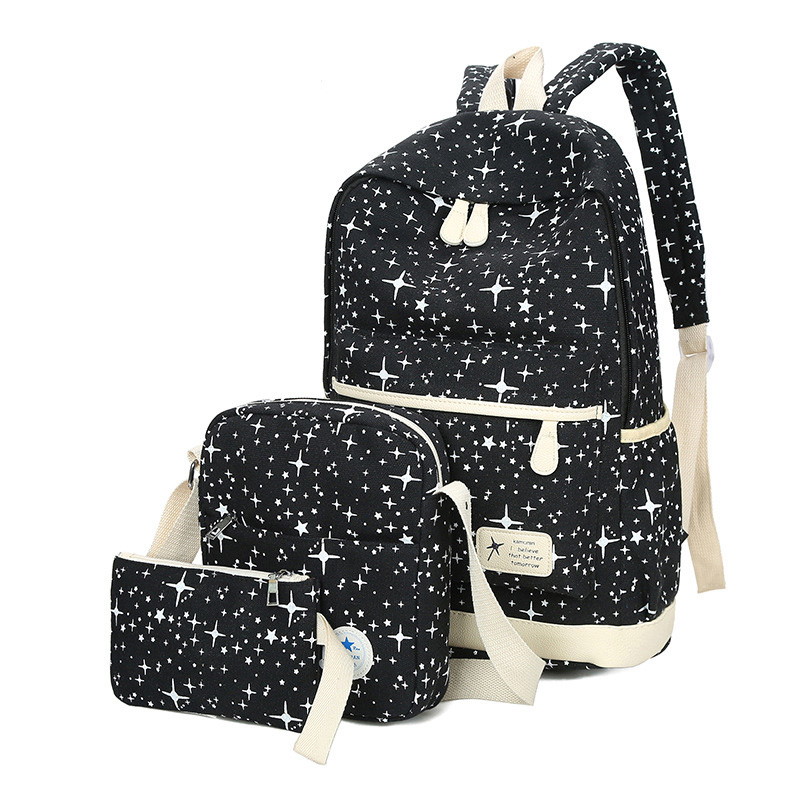 Fashion Star Women Canvas Backpack Schoolbags For Girl Teenagers Casual Travel Bags Rucksack Cute Printing Children 3pcs/set 3 pcs set school bags for teenagers girl boy backpack women shoulder travel bags rucksack knapsack set de 3 mochilas escolares