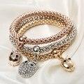 Moda 3 Pçs/set Crystal Bead Bracelet Mulheres Banhado A Ouro Presentes de Cristal Coruja Pulseiras Jóias Charme Elástico pulseira feminina