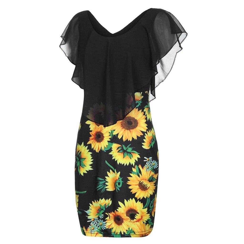 HTB1s.BeV9zqK1RjSZFjq6zlCFXa1 Sexy Womens Sunflower Summer Bodycon Dress Sleeveless Printed Holiday Party Short Mini Dresses Ruffle Summer Dress 2019 Vestido