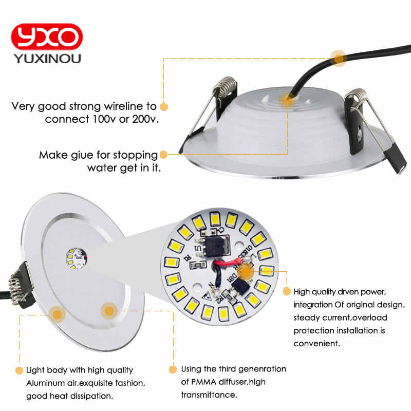 Горячая Распродажа 5 Вт 7 Вт 9 Вт Водонепроницаемый светодиодный светильник с регулируемой яркостью теплый белый холодный белый 3 цвета Встраиваемый светодиодный точечный светильник AC85-265V