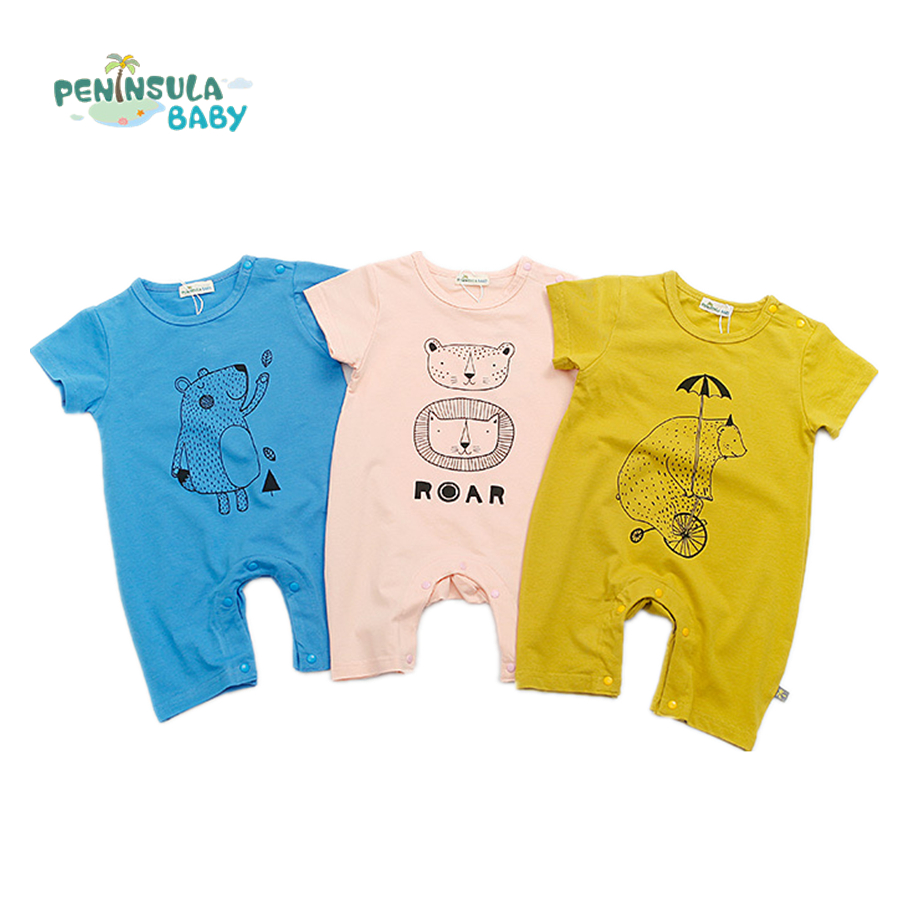 Baby Rompers Summer Cartoon Bear Lion Baby Boy Girl Clothing Newborn Infant Soft Short Sleeve Clothes Babies De Roupa Jumpsuit baby rompers newborn baby boy clothes spring short sleeve childrens clothing kids jumpsuits roupa infantil body bebes jumpsuit