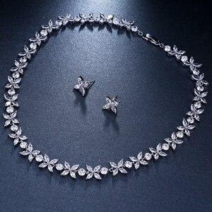 Image 5 - Emmaya цирконы потрясающие кристаллы ожерелье и серьги роскошный свадебный набор ювелирных изделий для вечеринки свадебный вечерний подарок