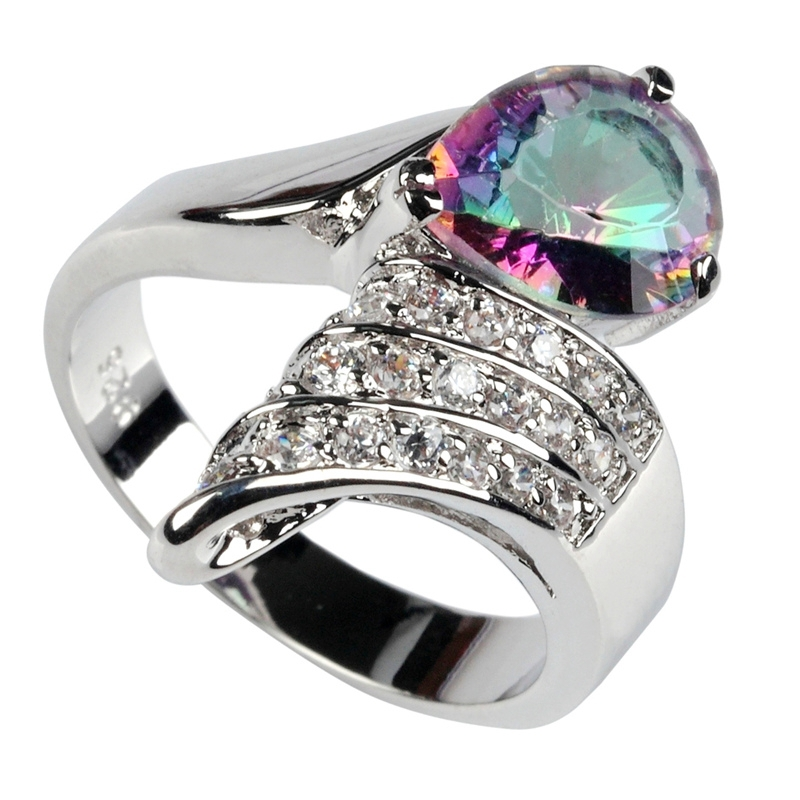 Fleure Esme Hyperbole Rainbow Mystic stone and White Cubic Zirconia Punk Jewelry Silver Plated Ring R3295 sz# 6 7 8 9 best sell