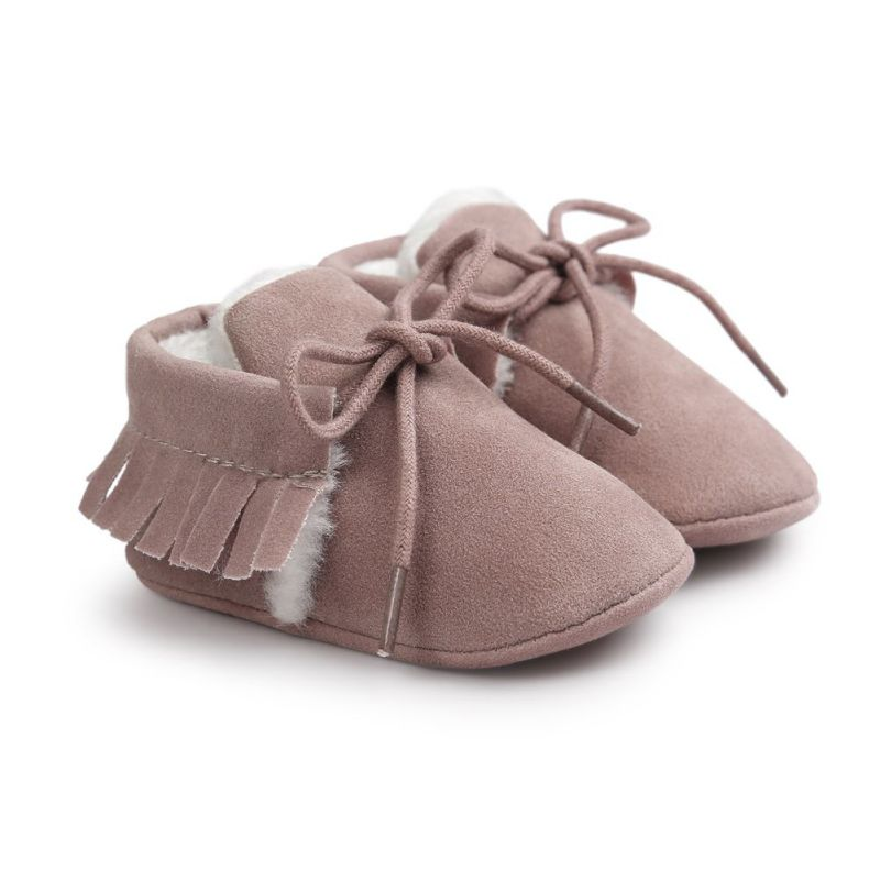 2017 Kacakid New Baby Solid Fashion Girls Tassel Frosted PU Soft Warm Lace Up Baby Toddler Shoes Autumn Winter Y6