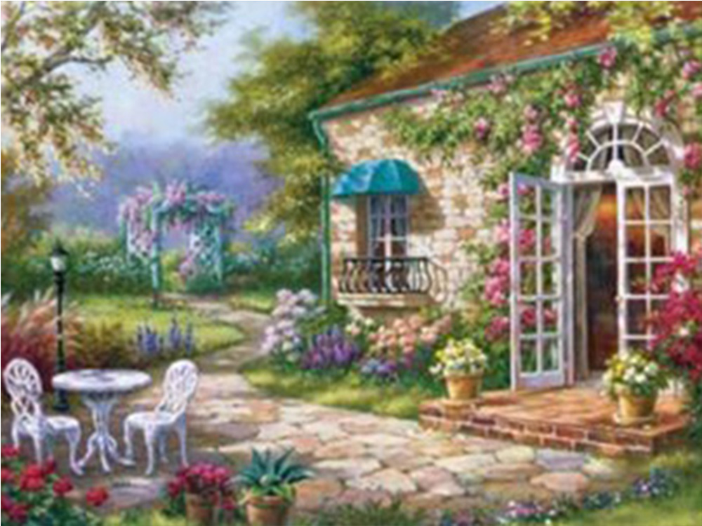 Country scenery  Diamond Painting house Natural embroidery full round landscape painting