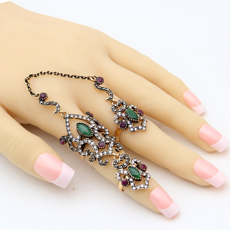 SUNSPICE MS Vintage Turkey Women Flower Double Link Ring Set - Perhiasan fesyen - Foto 6
