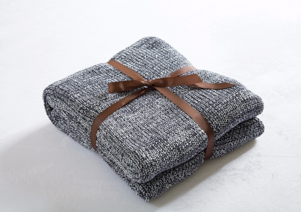 Cotton Gray Knit Blanket for Bed/Home Sofa Cover Blankets Spring Winter Cobertor Plaid on the Sofa Bedspread Home Textile