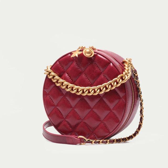 2019 Lady Handbags Women Messenger Black Bags Genuine Leather Circular Cowhide Ladies Mini Luxurious Diamond Lattice Party Bag