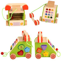 MWZ Child Pretend Play Furniture Toys Wooden Home Phone Car Number Colorful Kids Cartoon Smile Baby Children Funny Pull Toy Car