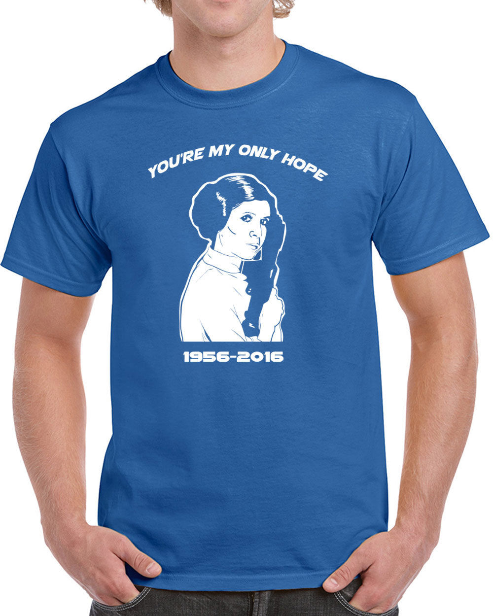 552 Only Hope mens T shirt carrie tribute fisher star geek nerd jedi wars cool Print Tee Men Short Sleeve Clothing free shipping in T Shirts from Men 39 s Clothing