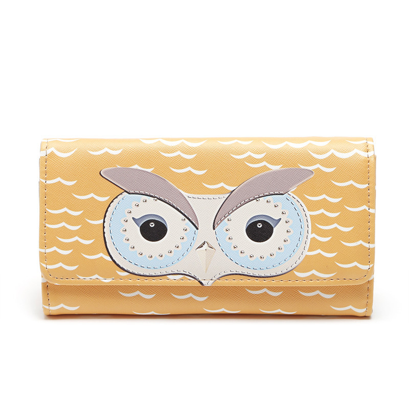 MIRROR SUNNY European and American hot style female owl long PU leather three-fold magnetic buckle purse female hand wallet