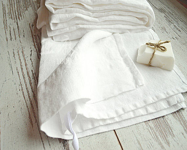 100 Real White Linen Napkins Wedding Table Napkin Natural Pure Pink Stain Cloth Cover