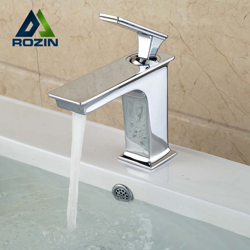 ФОТО Free Shipping Deck Mount Square Brass Bathroom Basin Sink Faucet Single Handle Mixer Taps Chrome Finished