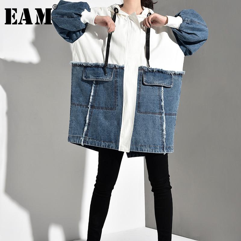 [EAM] 2020 New Spring Autumn Hooded Long Sleeve Hit Color Denim Split Joint Loose Big Size Jacket Women Coat Fashion Tide BD4810