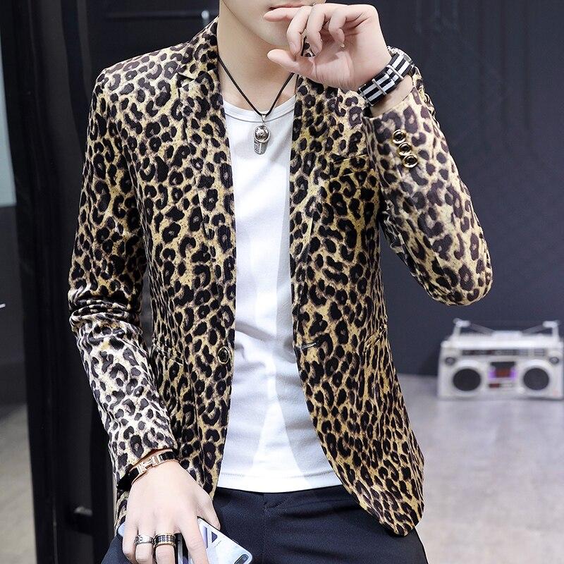 HO 2019 Spring New Leopard Blazer Blazer Youth Print Slim Handsome Blazer Tide