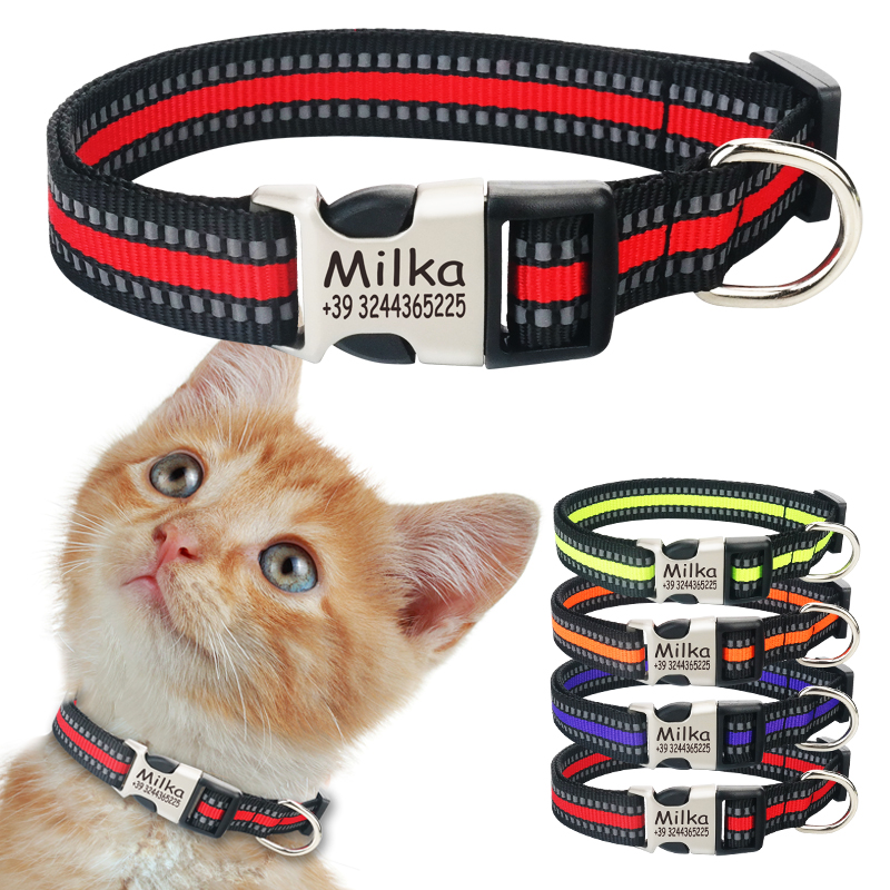 Flowgogo Personalized Engraved Dog Cat Collar Custom Nylon Puppy Cat Pet Collars Id Tag For Small Medium Large Dogs