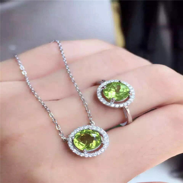 NATURAL PERIDOT set inlaid jewelry wholesale S925 silver silver free postage