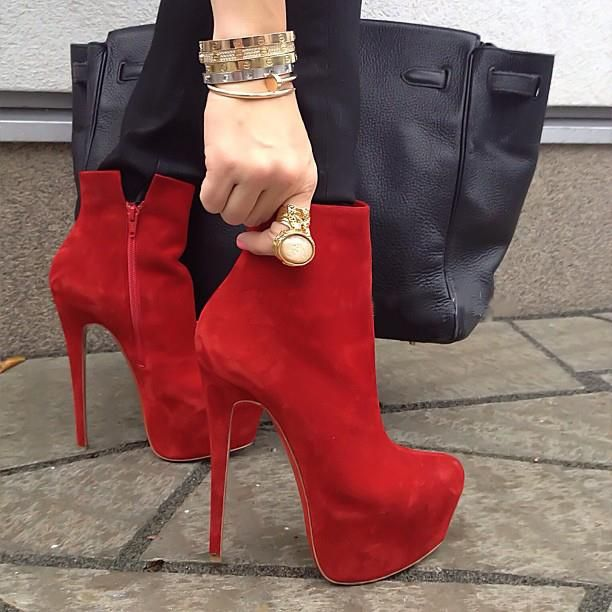 ФОТО New Sexy Women Ankle Boots Nice Platform Round Toe Thin Heels Boots Stylish Black Red Shoes Woman Plus US Size 4-15