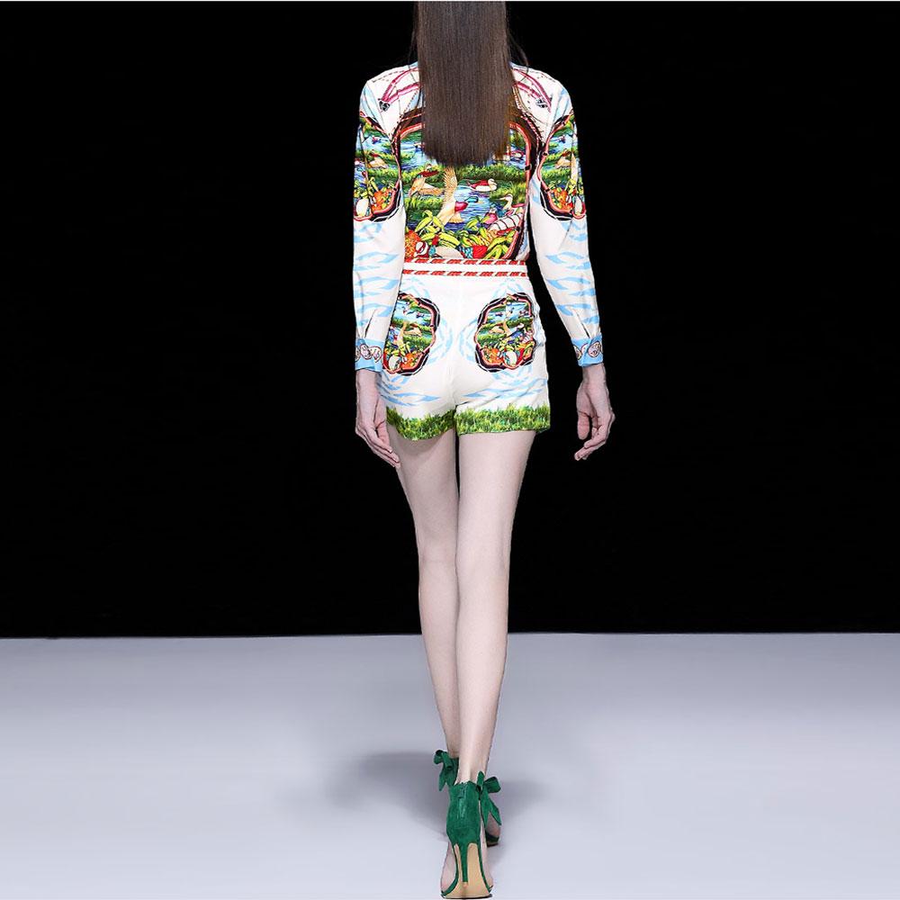 Roosarosee Hot Des Multi Summer Designer Rouge Twinset Hauts À Chemise Femmes Longues Shorts Blouse Ensemble Mode Sexy Imprimer Manches Deux Pièces Blanche 4cFqFS8dWy