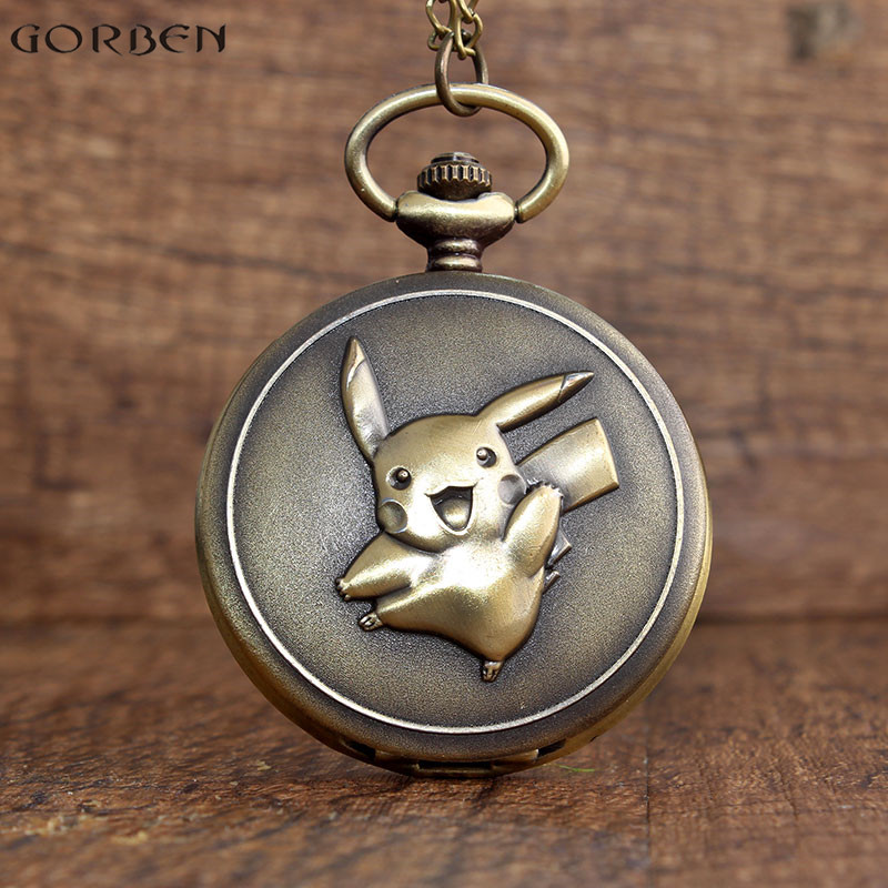 Retro  Bronze KAWAI Pikachu Pocket Watch With FOB Necklace Chain Japan Anime Cute Cartoon Pokemon Watches Boys Children Pendants