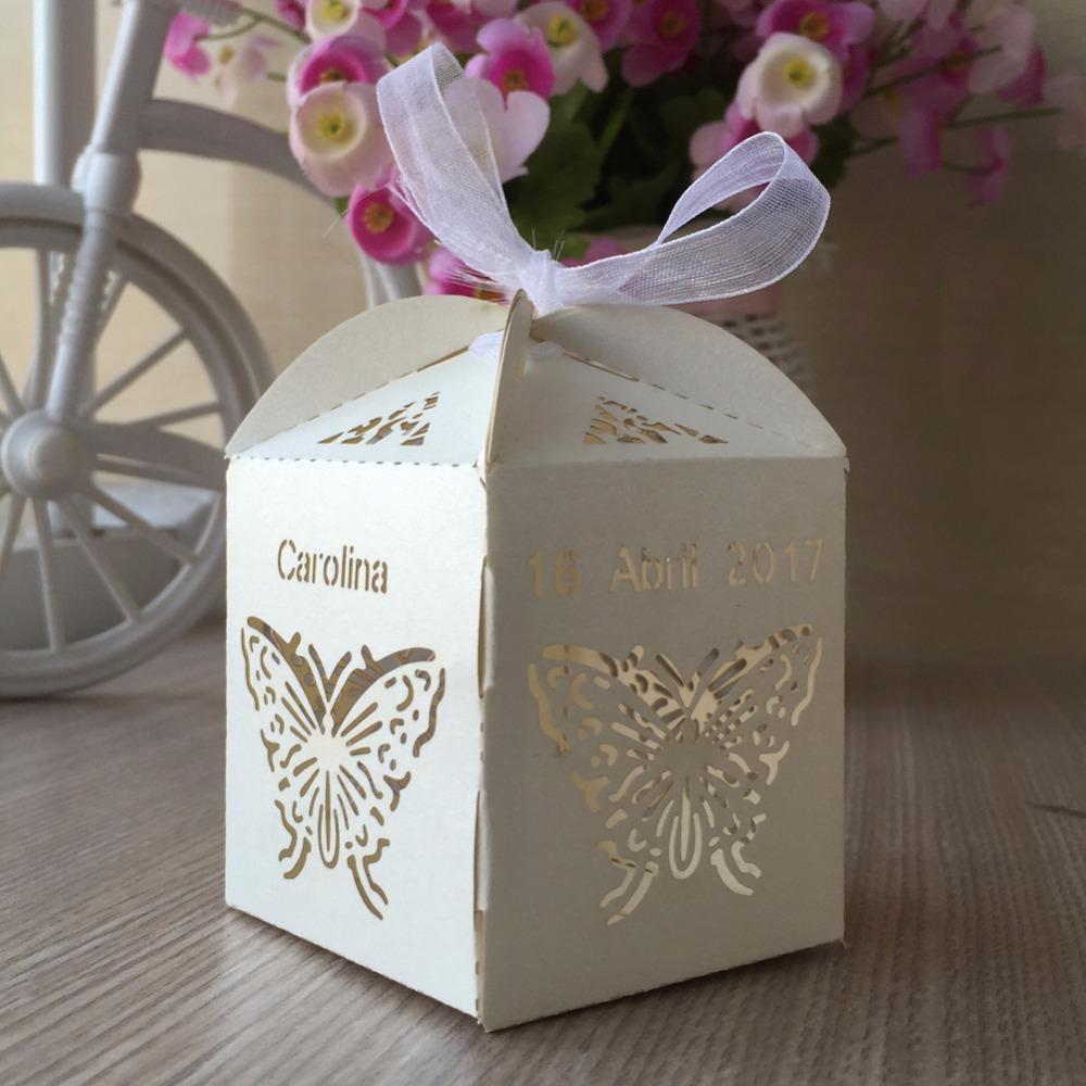 100pcs Set Butterfly Pearl Paper Butterfly Candy Chocolate