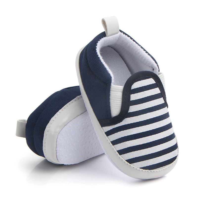 2019 Fashion Blue Striped Baby Boy Shoes Lovely Infant First Walkers Good Soft Sole Toddler Baby Shoes Hot Sale