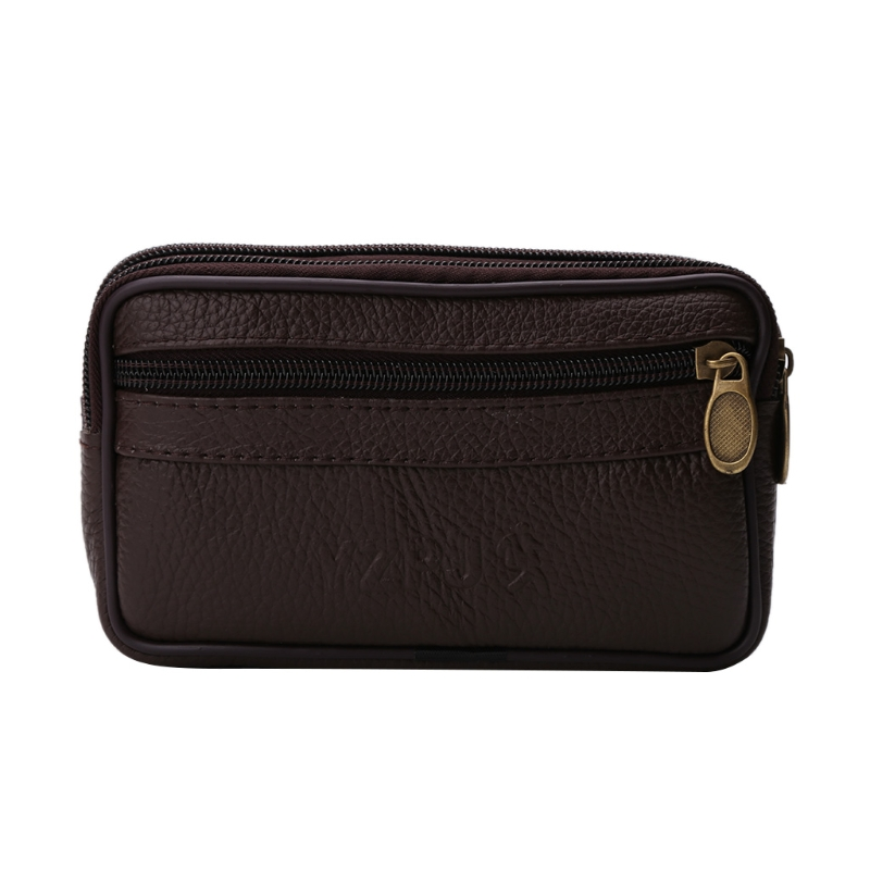 THINKTHENDO Men Leather Pouch Belt Mobile Phone Pocket Pack Waist Bag New Fashion Brown Color Waist Belt Bags