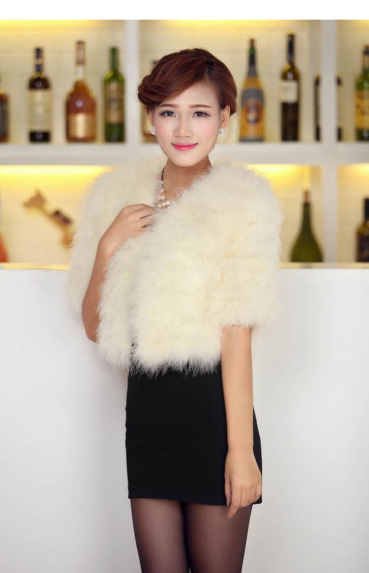 Real Natural Turkey Fur Vest Ivory Bolero white Wedding Wrap Shawl Ostrich hair vest waistcoat Bridal Jacket Coat Accessories