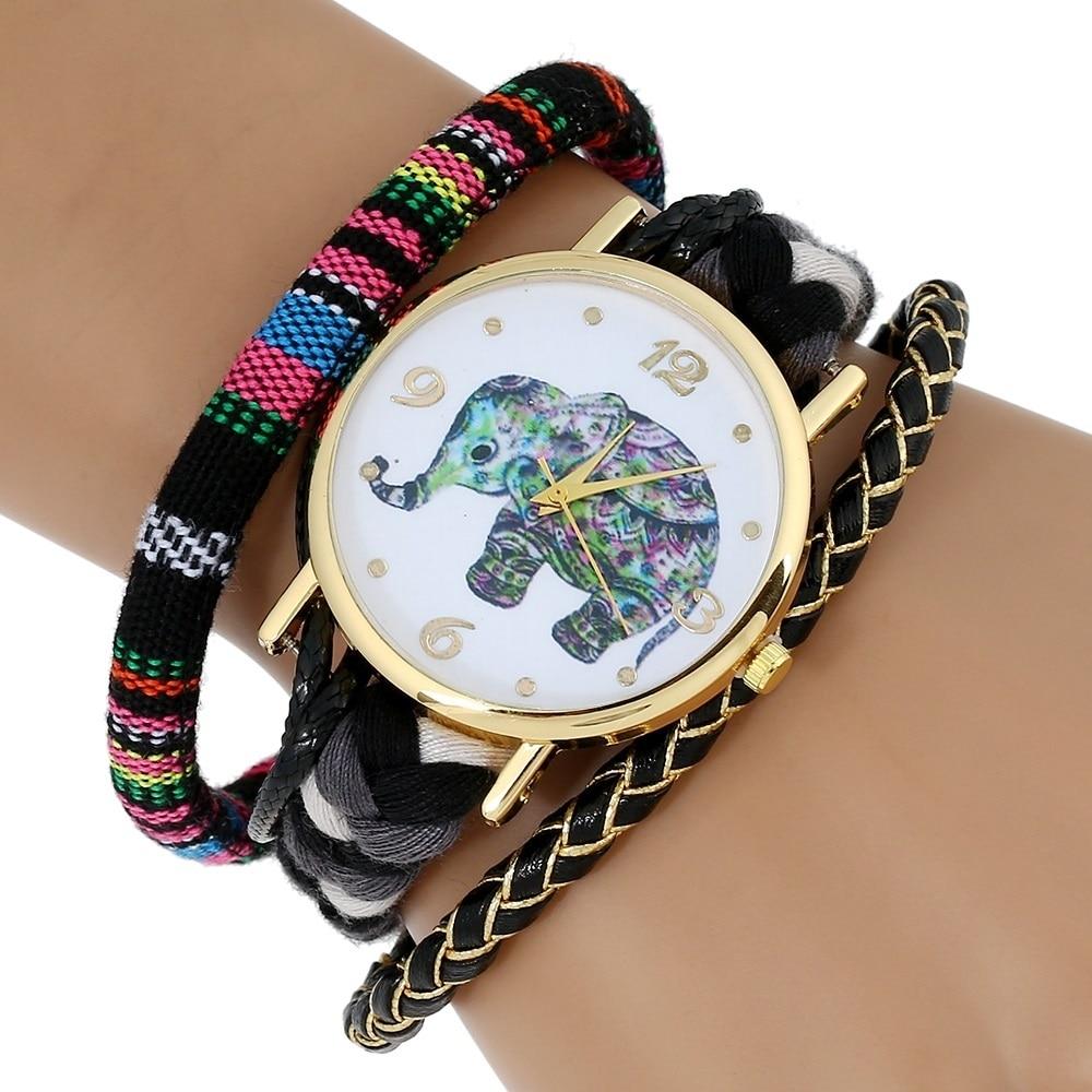 Gnova Platinum Ethnic Style Women Watch Fashion Wristwatch Triple thick peruvian bracelet magnet brooch quartz clock A593