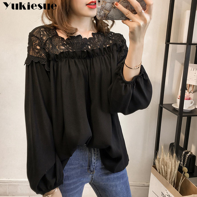 white woman blouses summer women's shirt blouse for women blusas womens tops and blouses lace chiffon shirts ladie's plus size 3
