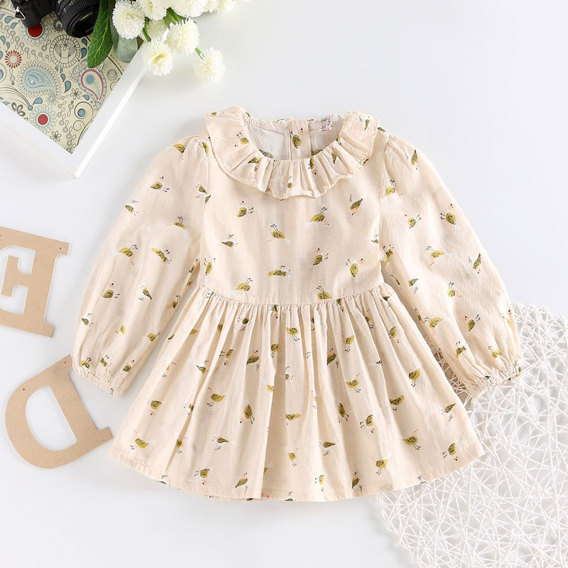 2018 summer girls dress Kids spring pleated onepiece Pastoral style print dresses Baby girl cute dress long sleeve frill collar