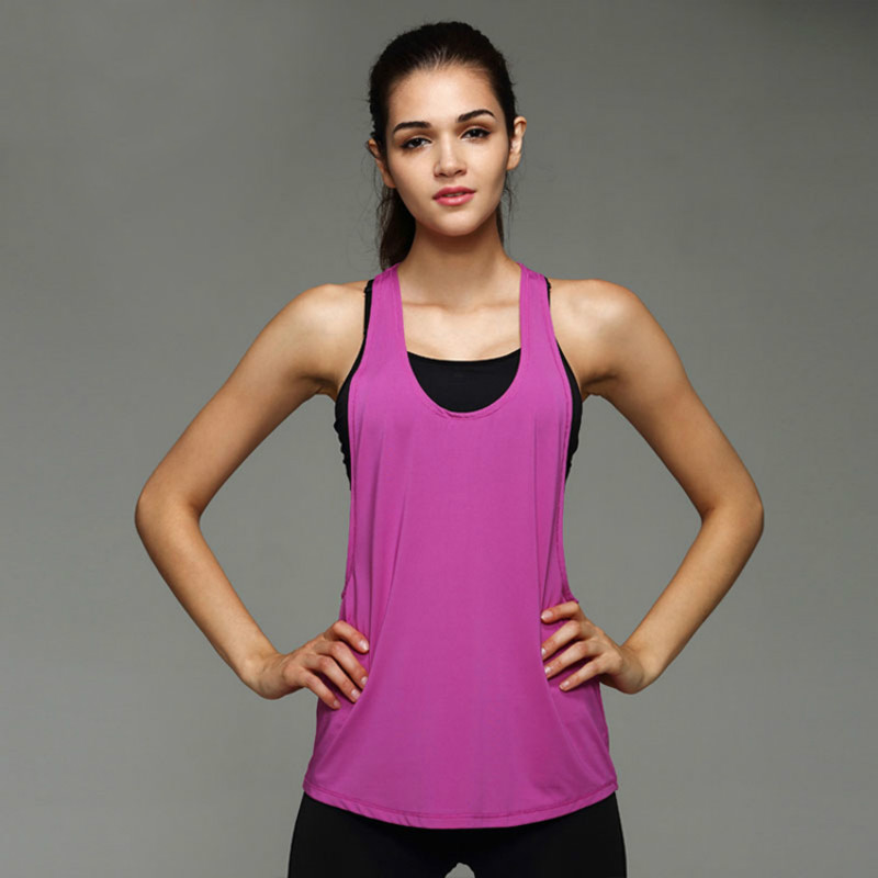 Women s T shirt Sports Apparel Yoga Top Shirt Fitness Clothing Sport Suit  Sleeveless Vest Women Running Yoga Quick Drying Tops -in Yoga Shirts from  Sports ... eec014fbe
